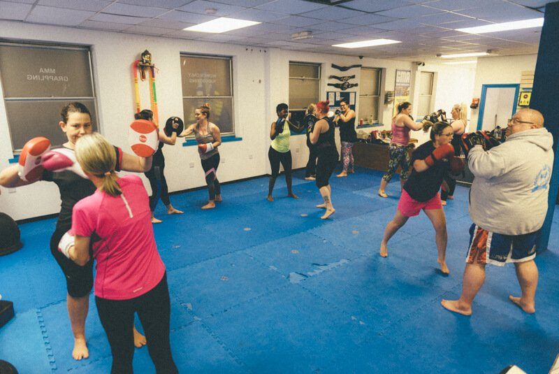 ladies kick boxing classes at Gosport Martial Arts.